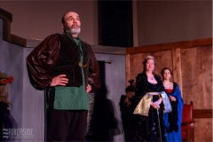 Henry (Mark Bilyk)  is watched by Eleanor (Julie Lisnet) and Alais (Aimee Gerow). Photo by RCS Maine
