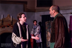 John (Padraic Harrison) pleads with Henry (Mark Bilyk) while Geoffrey (Tyler Costigan) observes. Photo by RCS Maine